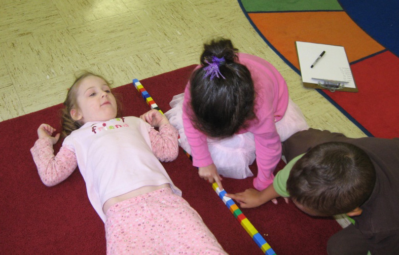 measuring a friend with blocks